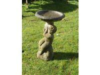 Charming Vintage Cast Stone Cherub Bird Bath 62cm Tall Garden Ornament Statue