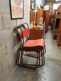 Mid Century Vintage Industrial Stacking Chairs