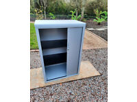Home Office Storage Unit with Tambour Doors in Grey 2 Adjustable Shelves with Key