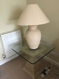 Stone effect glass top coffee table/ lamp stand