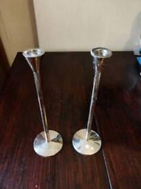 Pair metal candlestick holders