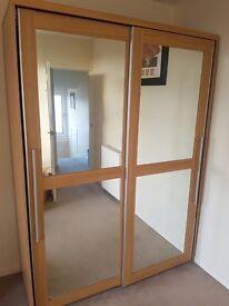 Caxton Melody 2 Door Mirrored Sliding Door Wardrobe in Natural Oak