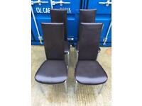 Set of 4x dining chairs dark brown retro curve legs highback stackable