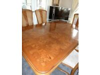 Beautiful Large Ash and Burwood Elm/solid Wood Table and 6 Chairs