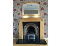 Pine fire surround, solid granite hearth, matching mirror and gas fire