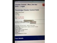 Chester Central Travelodge ( Easter Monday 2nd April ) 1 night .
