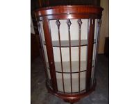 Vintage half moon Display Cabinet glass doors shabby chic upcycle