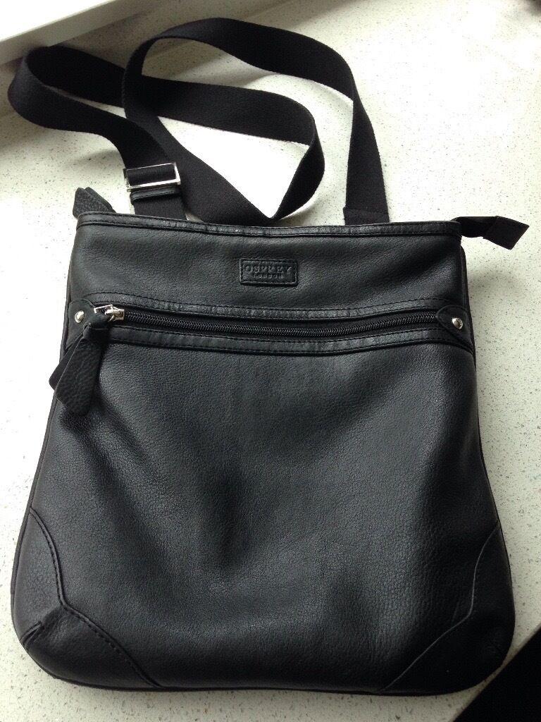 Osprey black leather shoulder bag | in Cranleigh, Surrey | Gumtree