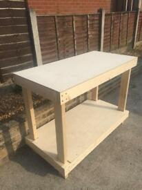 Wooden Workbench With 9mm Plywood Top and Shelf