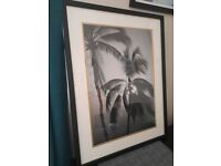 Large black framed picture Palm Trees in the Evening