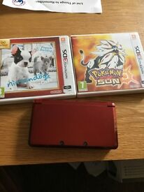 Red 3ds with 2 games quick sale please