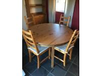 Round pine extendable table + 4 chairs £100 ONO