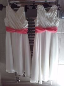 2 Bridesmaids dresses - Ivory with coral sash - chiffon - for 9 and 10 years old