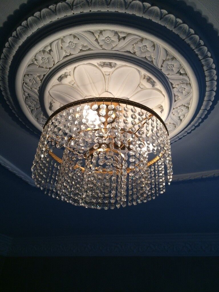 Genuine crystal chandelier with matching wall lights in bolton genuine crystal chandelier with matching wall lights arubaitofo Gallery