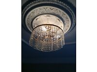 Genuine crystal Chandelier with matching wall lights