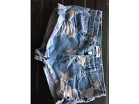Blue star denim short shorts