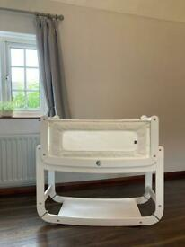Snuzpod 2 bedside crib with sheets and mattress protector
