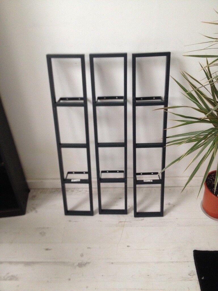 3 X Ikea Lerberg 10035 Metal Wall Cd Dvd Shelf Storage Rack