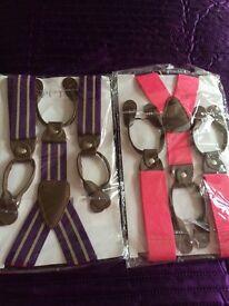 Trouser Braces fancy dress pink and purple