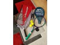 2 x Tennis rackets and racketballs racquet