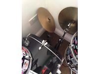 Drum kit parts, toms, cymbols, sold as seen, NO snare, pedals, seat