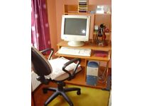 Computer desk and adjustable chair