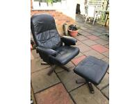 Black leatherette recliner chair and stool ( can deliver )