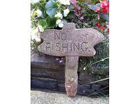 Garden pondside ornamental sign
