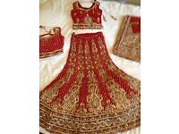 Indian Red Bridal Lengha: Never worn, brand new size 10-12 adjustable, 2 tops