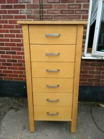 Tall wooden 6 drawer cabinet