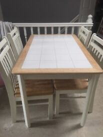 Solid wood and tile table for sale