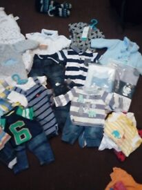Baby boy bundle of clothes vests all newborn & 0/3 mths most of them still have tags on thrrmw
