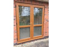 Cherry Oak Patio Doors including Venetian blinds - open to offers