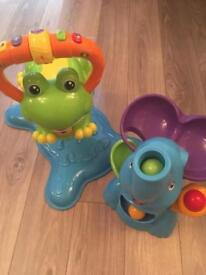 Vtech bounce and discover frog and playskool elephant