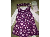Baby girls 4 piece outfit cord pinfore vest matching headband and tights 9-12months new