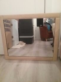 Large Faux Suede edged Mirror