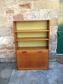 Striking GPlan bookcase with bureau-style bottom cabinet