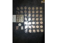 Silver Britannia Coins and 1kg bar with cert