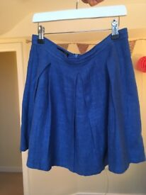 Topshop blue pleated skirt - size 10, great condition