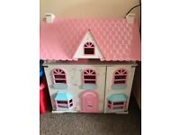 Elc dolls house with furniture - good condition. Tap broke off tap as shown in picture
