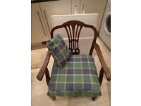 Wooden Easy Chair, with seat cushion and small back cushion.