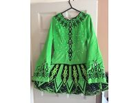 Green velvet Irish dancing dress