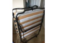 Folding single bed on wheels with clean new like condition Jay-be mattress