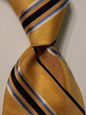 IKE BEHAR Men's 100% Silk Necktie USA Designer STRIPED Yellow/Blue/White EUC
