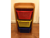 Ikea Wooden Storage Unit With Glass Shelves and Baskets