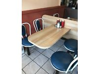 Coffe shop tablesx10 seats included, clean and new, only collection, will take offers.