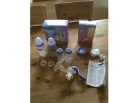 Lansinoh Manual Breast Pump and Bottles (Used but in good condition)