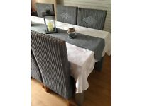 6 Seater Dining Table Solid Grey Wicker