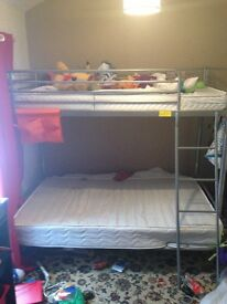 Silver metal triple sleeper bunk bed