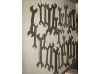 job lot of 25 vintage spanners /lister/ britool